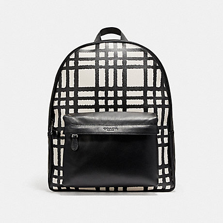 COACH f11164 CHARLES BACKPACK WITH WILD PLAID PRINT BLACK ANTIQUE NICKEL/CHALK/BLACK PLAID
