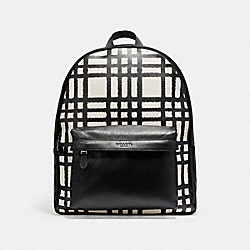 COACH CHARLES BACKPACK WITH WILD PLAID PRINT - BLACK ANTIQUE NICKEL/CHALK/BLACK PLAID - F11164