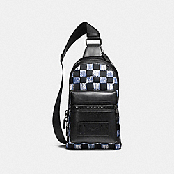 COACH F11165 Terrain Pack With Graphic Checker Print BLACK ANTIQUE NICKEL/DUSK MULTI CHECKER
