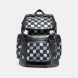 COACH F11172 Terrain Trek Pack With Graphic Checker Print BLACK ANTIQUE NICKEL/DUSK MULTI CHECKER