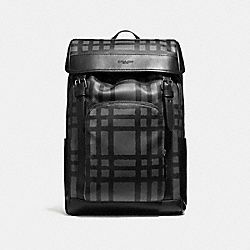 COACH F11185 Henry Backpack With Wild Plaid Print BLACK ANTIQUE NICKEL/GRAPHITE/BLACK PLAID