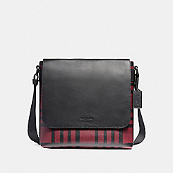 CHARLES SMALL MESSENGER WITH WILD PLAID PRINT - f11186 - BLACK ANTIQUE NICKEL/CRIMSON/BLACK PLAID