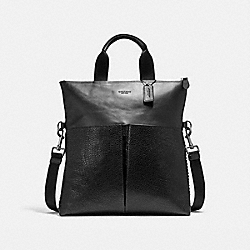 CHARLES FOLDOVER TOTE WITH BASEBALL STITCH - f11241 - ANTIQUE NICKEL/BLACK