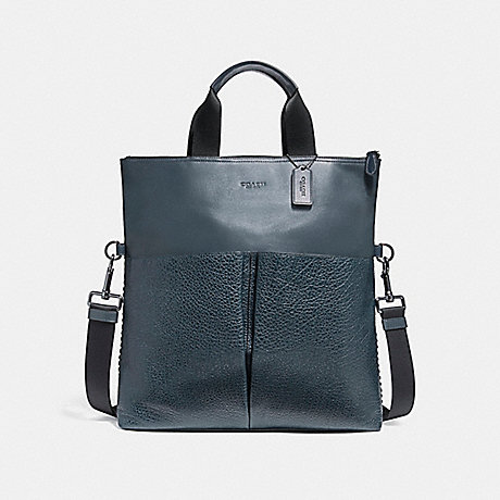 COACH f11241 CHARLES FOLDOVER TOTE WITH BASEBALL STITCH BLACK ANTIQUE NICKEL/DENIM
