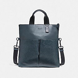 CHARLES FOLDOVER TOTE WITH BASEBALL STITCH - f11241 - BLACK ANTIQUE NICKEL/DENIM