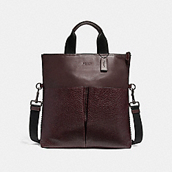 CHARLES FOLDOVER TOTE WITH BASEBALL STITCH - f11241 - BLACK ANTIQUE NICKEL/OXBLOOD