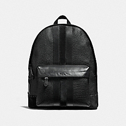 CHARLES BACKPACK WITH BASEBALL STITCH - f11250 - ANTIQUE NICKEL/BLACK
