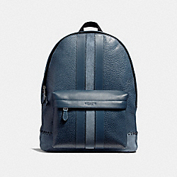 CHARLES BACKPACK WITH BASEBALL STITCH - f11250 - BLACK ANTIQUE NICKEL/DENIM