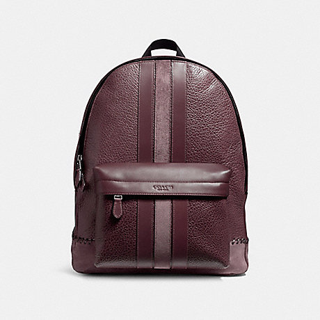 COACH f11250 CHARLES BACKPACK WITH BASEBALL STITCH BLACK ANTIQUE NICKEL/OXBLOOD