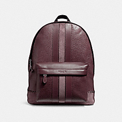 CHARLES BACKPACK WITH BASEBALL STITCH - f11250 - BLACK ANTIQUE NICKEL/OXBLOOD