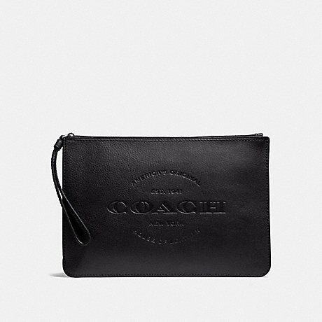 COACH f11482 HUDSON POUCH ANTIQUE NICKEL/BLACK