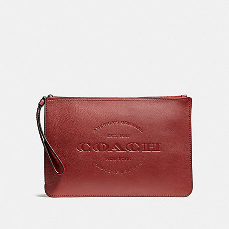 COACH f11482 HUDSON POUCH BLACK ANTIQUE NICKEL/BRICK