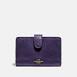 COACH F11484 - MEDIUM CORNER ZIP WALLET DARK PURPLE/IMITATION GOLD