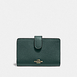 COACH F11484 Medium Corner Zip Wallet IM/EVERGREEN