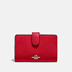 COACH F11484 - MEDIUM CORNER ZIP WALLET IM/BRIGHT RED