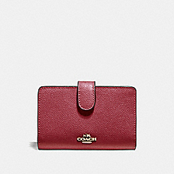 MEDIUM CORNER ZIP WALLET - F11484 - CHERRY /LIGHT GOLD