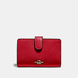 COACH F11484 Medium Corner Zip Wallet IMITATION GOLD/TRUE RED