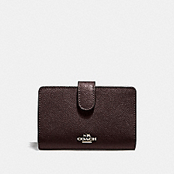 COACH F11484 Medium Corner Zip Wallet In Crossgrain Leather LIGHT GOLD/OXBLOOD 1