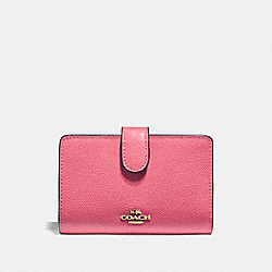 COACH F11484 - MEDIUM CORNER ZIP WALLET STRAWBERRY/IMITATION GOLD