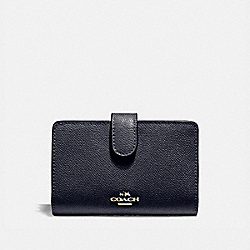 COACH F11484 Medium Corner Zip Wallet In Crossgrain Leather LIGHT GOLD/MIDNIGHT