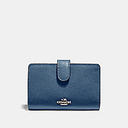 MEDIUM CORNER ZIP WALLET - f11484 - INK BLUE/LIGHT GOLD
