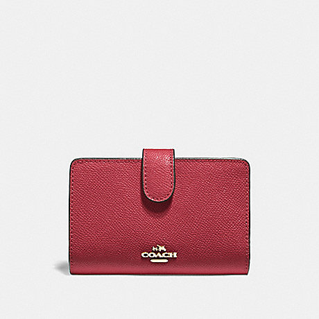 COACH F11484 MEDIUM CORNER ZIP WALLET WASHED RED/GOLD