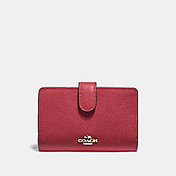 COACH F11484 - MEDIUM CORNER ZIP WALLET WASHED RED/GOLD
