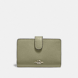 COACH F11484 Medium Corner Zip Wallet LIGHT CLOVER/IMITATION GOLD