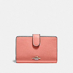 COACH F11484 Medium Corner Zip Wallet LIGHT CORAL/GOLD