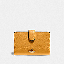 COACH F11484 Medium Corner Zip Wallet MUSTARD YELLOW/GOLD