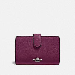 COACH F11484 - MEDIUM CORNER ZIP WALLET IM/DARK BERRY