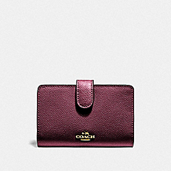 COACH F11484 Medium Corner Zip Wallet IM/METALLIC WINE