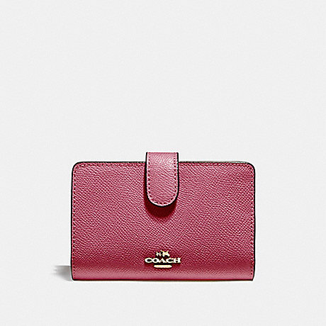 COACH f11484 MEDIUM CORNER ZIP WALLET LIGHT GOLD/ROUGE