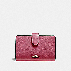MEDIUM CORNER ZIP WALLET - f11484 - LIGHT GOLD/ROUGE