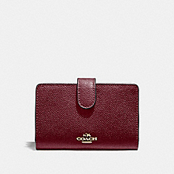 COACH F11484 Medium Corner Zip Wallet WINE/IMITATION GOLD