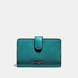 COACH F11484 - MEDIUM CORNER ZIP WALLET QB/METALLIC VIRIDIAN