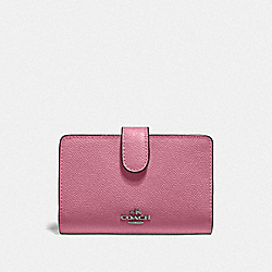 COACH F11484 - MEDIUM CORNER ZIP WALLET QB/PINK ROSE