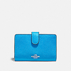 COACH F11484 Medium Corner Zip Wallet BRIGHT BLUE/SILVER
