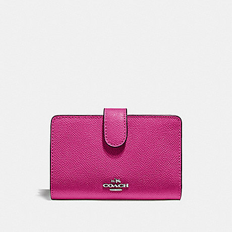COACH F11484 MEDIUM CORNER ZIP WALLET CERISE/SILVER