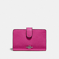 COACH F11484 - MEDIUM CORNER ZIP WALLET CERISE/SILVER