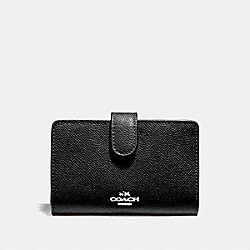 COACH F11484 Medium Corner Zip Wallet SV/BLACK