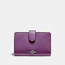 COACH F11484 Medium Corner Zip Wallet SILVER/BERRY