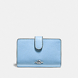 MEDIUM CORNER ZIP WALLET - F11484 - CORNFLOWER/SILVER