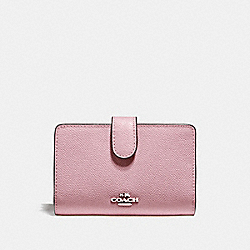 COACH F11484 Medium Corner Zip Wallet SILVER/DUSTY ROSE