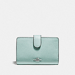 COACH F11484 Medium Corner Zip Wallet SILVER/SEA GREEN