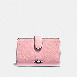 MEDIUM CORNER ZIP WALLET - F11484 - PETAL/SILVER