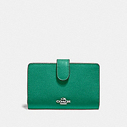 COACH F11484 - MEDIUM CORNER ZIP WALLET GREEN/SILVER