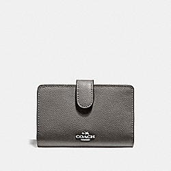 COACH F11484 Medium Corner Zip Wallet HEATHER GREY/SILVER