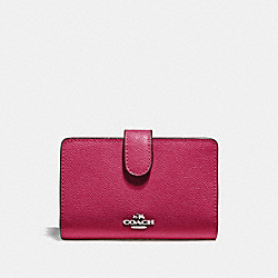 COACH F11484 Medium Corner Zip Wallet SILVER/HOT PINK