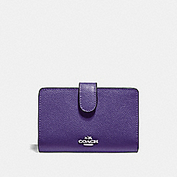 COACH F11484 Medium Corner Zip Wallet IRIS/SILVER
